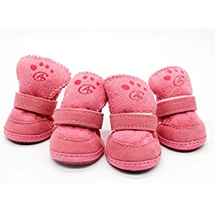 Fantasyworld 4pcs Dogs Snow Boots Pets Pink Puppy Shoes Winter Warm Soft Cashmere Paws Care Anti-skid Sole Walking Running Pets Supplies:Viralbuzz