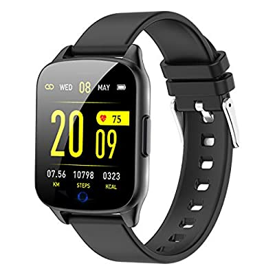 Fitness Tracker Watch for Women Men - Heart Rate Blood Pressure Oxygen Monitor Health Exercise Watch, Activity Tracker with Weather Step Calorie Counter, Waterproof Smart Fitness Watch (Black) by AMENON