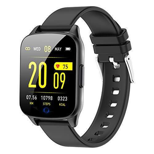 Fitness Tracker Watch for Women Men - Heart Rate Blood Pressure Oxygen Monitor Health Exercise Watch, Activity Tracker with Weather Step Calorie Counter, Waterproof Smart Fitness Watch (Black)