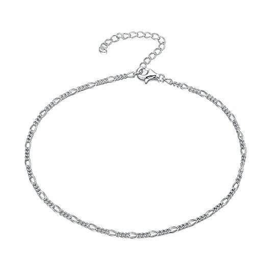 925 Sterling Silver 11 Inch Curb Chain Anklet/Ankle Bracelet/Ankle Chain includes Pretty Gift Box- Adjustable (New Style)