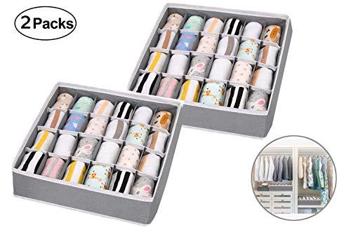 WoYu 2 Paquetes Caja de Almacenamiento Plegable para cajones, 24 Celdas Plegable Ropa Interior Cajas de Almacenamiento para almacenar Calcetines, Bufandas, Corbatas
