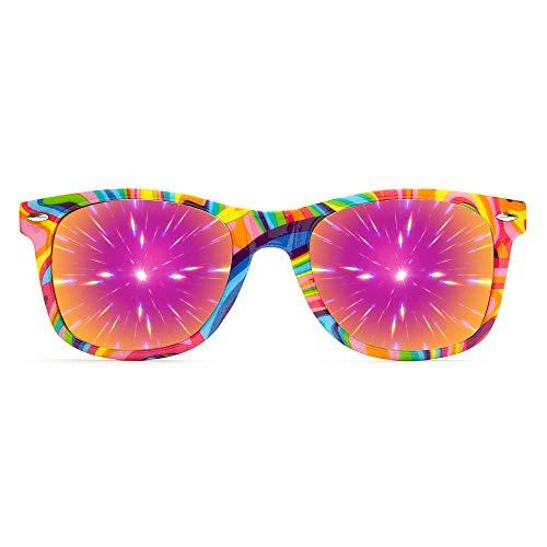 GloFX Kandi Swirl Diffraction Glasses - Rainbow Gradient Style Rave Sunglasses EDM Festival