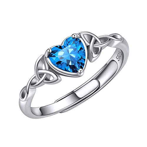 ChicSilver 925 Sterling Silver Celtic Knot Blue Aquamarine Gemstone December Birthstone Heart Ring Wedding Band for Women