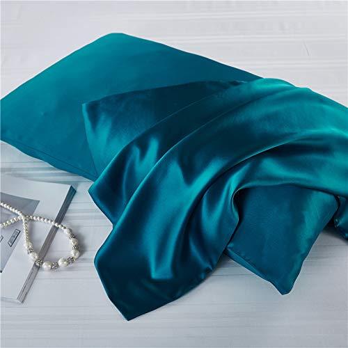 Zijden kussensloop Mulberry zijde effen kleur dubbelzijdige kussensloop stoere kussensloop, gat blauw, 51 * 36cm (dubbelzijdige zijde)