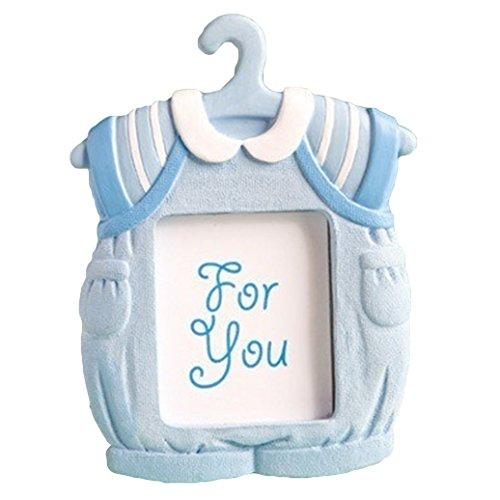 Bilderrahmen in Kleid-Form, für die Wand, Schreibtisch, Ständer, Fotorahmen, Dekor, Baby, Kindergeburtstag, Kunstharz, Bilderrahmen für Unisex, Babyparty, Geschenk (blau)