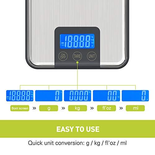 Adoric Digitalwaage Professionelle Electronische Waage 15KG, Küchenwaage mit großer Wiegefläche Präzision auf bis zu 1g(15kg Maximalgewicht)