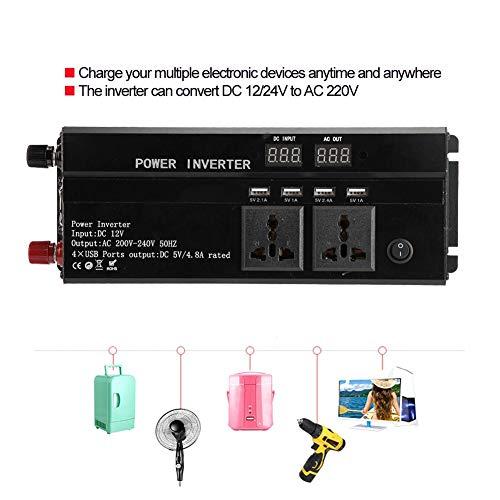 Pangding 12V/24V a 220V Inversor Solar para automóvil Convertidor automático de Alta Potencia Negro 3000W/4000W/5000W/10000W(12V转220V-4000W)