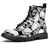 Men's Work Combat Boots Waterproof boots,Gothic Punk Black White Skull Head
