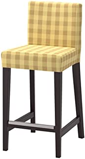 Ikea Bar stool with backrest, brown-black, Skaftarp yellow Size 24 3/4