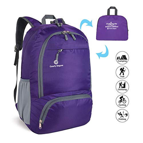 ComfyDegree - Packable Ultralight Hiking Backpack, Foldable Lightweight Multi-functional Casual Camping Trekking Rucksack Cycling Travel Climbing Mountaineer Outdoor Sport Daypack Bag (Purple)