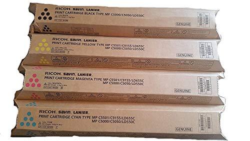 Genuine Ricoh MP C5000 C5050 LD550C Toner Bundle Set BCYM 841284, 841453, 841454, 841455