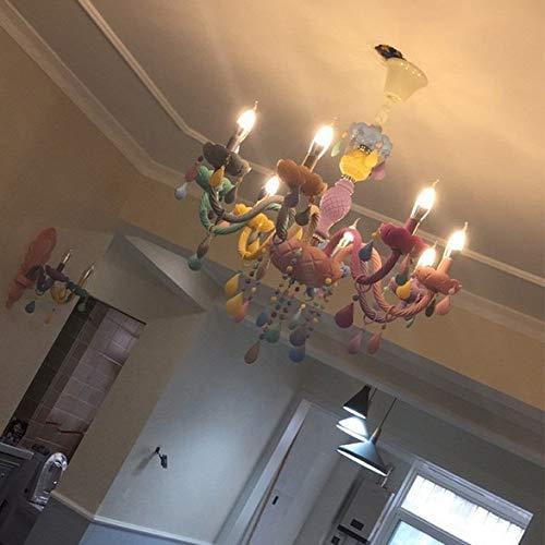 RAQ Moderne kinderkamer kroonluchter slaapkamer kinderen prinses hanglamp binnenhuis kleur meisjes kamer kroonluchter 8 lampen.