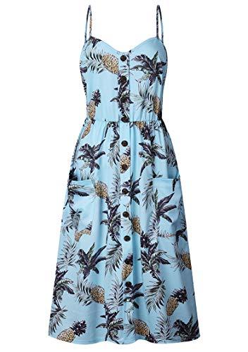 TYQQU Frauen Sommer lässig ärmelloses Kleid Sommerkleid Mode bedrucktes Kleid rückenfreies Kleid 0822 Blue S
