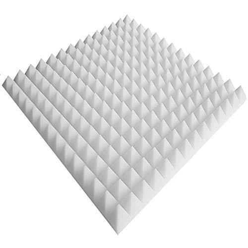 Noppenschaumstoff,Akustik Schaumstoff, Akustikschaumstoff, Pyramiden Akustik, Dämmung (99 x 99 x 6 cm, Weiß)