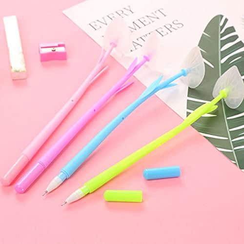 Bolígrafos de tinta de gel creativos que cambian de color, bolígrafos de 0,5 mm, color negro, para escuela, hogar, oficina, tienda de papelería, 6 unidades de color al azar crisantemo