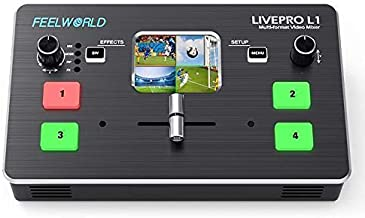 Feelworld LIVEPRO L1 Multiformat Video Mixer Switcher 2 Inch LCD Display 4X HDMI Input USB3.0 Live Streaming/Camera Production/Live Broadcast (with USB Cable + Adapter)