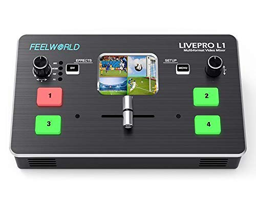 Feelworld LIVEPRO L1 mezclador de vídeo multiformato 4X entrada HDMI USB 3.0 transmisión en vivo/producción de cámara/transmisión en vivo (con cable USB + adaptador)