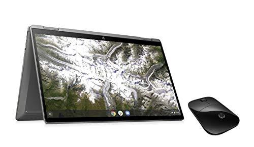HP Chromebook X360 14 Inch Full HD Display, Silver, Intel Pentium Gold 6405U, 4 GB RAM, 64 GB eMMC, 100 GB Google with USB Slim Wireless Mouse