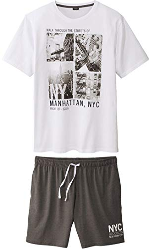 Golden Lutz® Herren Schlafanzug Shorty \'Manhatten, NYC\', 2-teilig (Weiß Grau, Gr. 4XL - 68/70) | LIVERGY