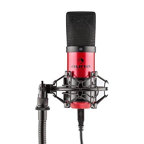 AUNA MIC-900-RD Microfono a condensatore con USB per registrazione, applicazioni Podcast, streaming audio (cardioide, capsula da 16mm, Plug & Play, ragno incluso), bianco.