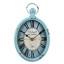 11 inch Indoor Silent Battery Operated Metal Decorative Clock, Retro Distressed Clock,Antique Oval Clock Blue