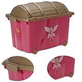 LS-LebenStil XL Kinder Spielzeugkiste Prinzessin 61x40x44cm Schatzkiste Rollbox