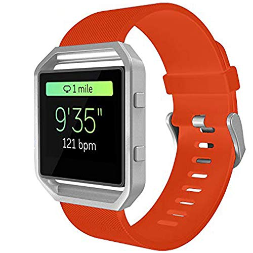 KingAcc Compatible Fitbit Blaze Bands, Soft Accessory Replacement Band for Fitbit Blaze, with Metal Buckle Smartwatch Strap Women Men (1-Pack, Orange, Large) [No Frame]