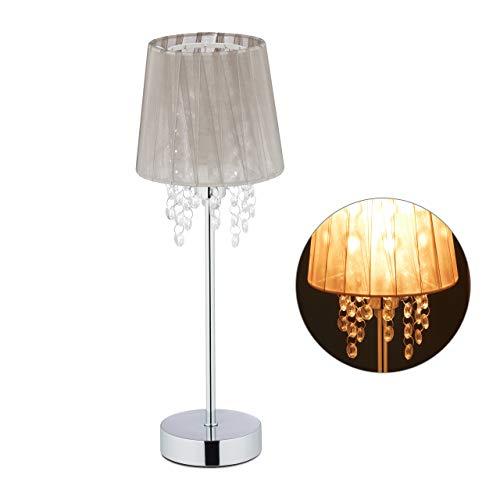 Relaxdays Tischlampe Kristall, Lampenschirm aus Organza, runder Standfuß, Nachttischlampe, HxD 41 x 14,5 cm, grau/silber