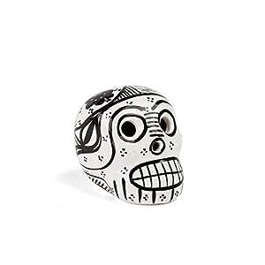FANMEX - Fantastik - Calavera Mexicana Decorativa de cerámica Mini (Blanco/Negro)