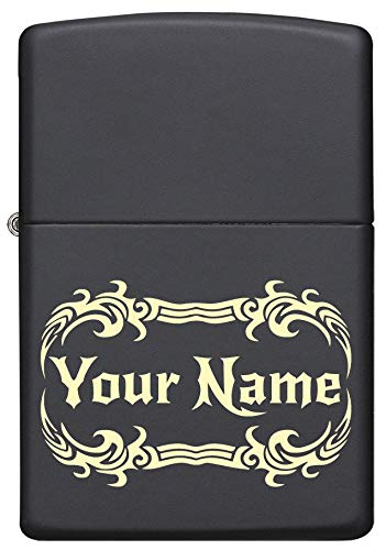 Custom Zippo Lighter Personalized Laser Engraved 'YOUR NAME' Tribal Tattoo Border Lighter Gift for Man or Woman