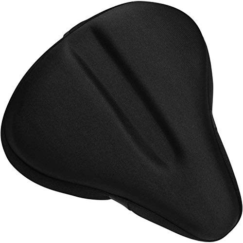 Bikeroo Bike Seat Cushion - Padded Gel Wide Adjustable Cover for Men & Womens Comfort, Compatible with Peloton, Stationary Exercise or Cruiser Bicycle Seats, 11in X 10in