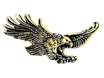 2.65  X 1.25  inch Eagle U.S.A Metal Medallion Harley Sportster Sissy Bar Backrest Davidson Bobber Chopper Emblem Logo Stick On 3M Decal Sticker Badge Dyna Biker Motorcycle flying eagles USA America