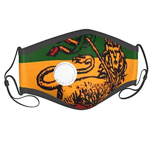 liukaidsfs Löwe von Juda Rastafari Flagge König Reggae Äthiopier Wiederverwendbare Waschenbare Einfarbige Mundschutz mit 10 Filter und Atemventil Anti Staub, Fog, Saliva für Outdoor, Innen, Reisen