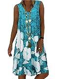Onsoyours Mujer Vestido Verano Cuello En V Color Sólido Boho Beach Vestido Estampado Flores Sin Mangas Manga Corta Vestidos Largos Camiseta Dress B Azul XXL