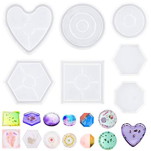 Moldes de resina epoxi, 7 unidades de posavasos de silicona de fundición de moldes de resina hexagonal, cuadrados, redondos, para decoración del hogar, suministros de arte