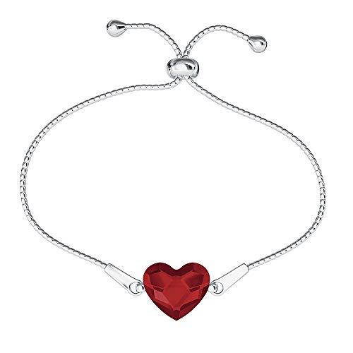 Beforya Paris * * * * Bracciale regolabile * Molti colori * – Bracciale in argento 925 con elementi Swarovski originali – meraviglioso bracciale San Valentino regalo con portagioie PIN/75