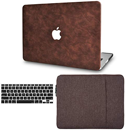 LuvCase 3 in 1 Laptop Case for MacBook Pro 13' (2016-2020) w/wo Touch Bar A2159/A1989/A1706/A1708 Leather Hard Shell Cover, Sleeve & Keyboard Cover (Brown Cow Leather)