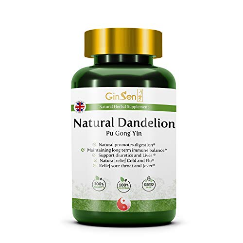 GinSen Dandelion Root Natural Herbal Supplement Improves Digestion & Immune System, Highly Effective for Excess Water Retention & Detoxing, Traditional Chinese Medicine Made in The UK (60 Tablets)