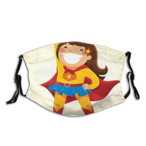 Mundschutz Mutiges kleines Mädchen mit einem großen Lächeln im Kostüm, das in Einer heroischen Position Steht Waschbare und Wiederverwendbare Gesichtsbedeckung mit Filter