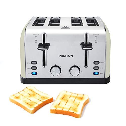 PRIXTON Bianca - Tostador ancho/Tostadoras/Tostadora de pan con 4 ranuras, 7 niveles de tostado, Potencia 1900 W, Diseñado en Acero inoxidable