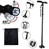 Travel Adjustable Folding Canes and Walking Sticks for Men and Women with Led Light and Cushion…