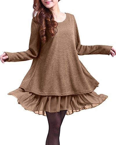ZANZEA Donna Pizzo Maglione Maglia Maniche Lunghe Vestito Corto Elegante Casual Moda Pullover Camicia Autunno Inverno Khaki S