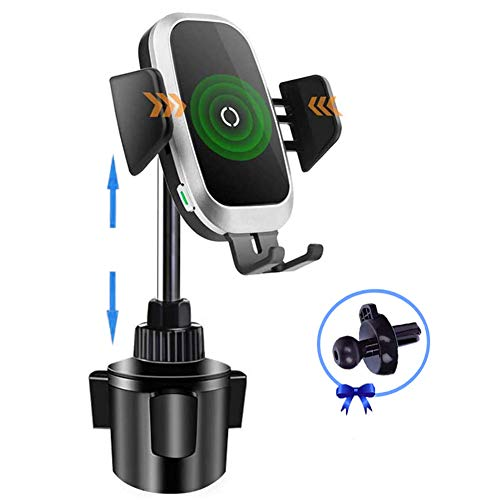 Cup Holder Phone Mount Wireless Car Charger, Auto Clamping QI Fast Wireless Charging Truck Bus Cell Phone Holder Compatible with iPhone 11 Pro Xs Xr X 8 Plus, Samsung Galaxy S10 S9 S8 S7 Note 9 8