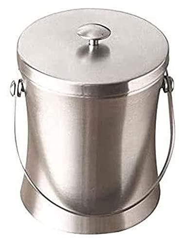 Cubo de Hielo de Acero Inoxidable con Tapa, Mantiene el asa de Transporte con Hielo y seco y cómodo, Ideal para el Bar de cócteles, champán, Vino y Cerveza refrigerante de 1 litro de Plata Yuechuang