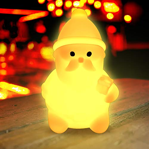 Baby Night Light,Christmas Light Gift with Safety and Durable Light for Santa Claus Shapes, Bedroom Soothing Sleeping Kids Nightlight(Colorful)