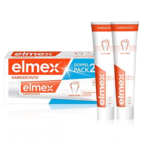Elmex Zahnpasta KARIESSCHUTZ Doppelpack, 2 x 75 ml - Zahncreme schützt vor Karies und stärkt den Zahnschmelz