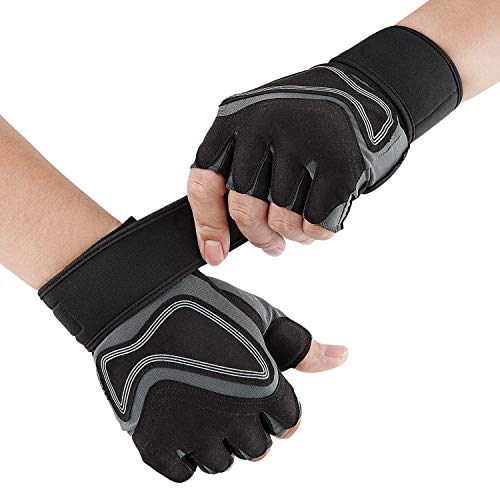 Glymnis Weight Lifting Gloves Workout Gloves Gym Gloves for Men and Women with Wrist Wrap Support Non-Slip Full Palm Protection Breathable Weightlifting Cross Training Cycling Crossfit Pull ups (M)