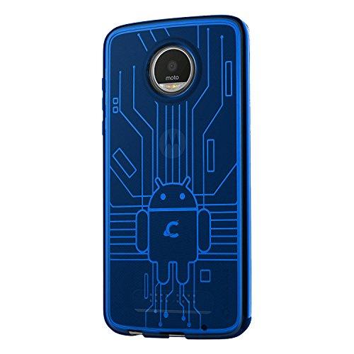 Cruzerlite Moto Z2 Play Custodia, Bugdroid Circuit TPU Custodia for Motorola Moto Z2 Play - Retail Packaging - Blue