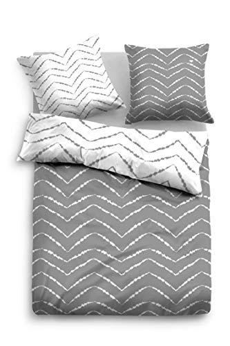 TOM TAILOR 0069845 Bettwäsche Garnitur mit Kopfkissenbezug Baumwoll-Satin 1x 200x200 cm + 2x 80x80 cm grey
