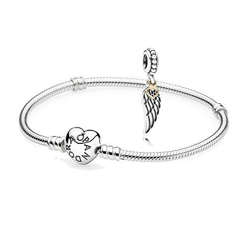 Original Pandora regalo Set–1Plata Pulsera con Corazón cierre 590719y 1bicolor colgante amor y protección 791389